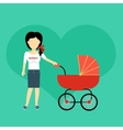 Mother with a Baby Carriage Banner vector image
