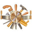 Saw blade with retro tools vector image