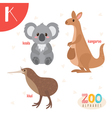 Letter K Cute animals Funny cartoon animals in vector image