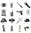 Detective icons set gray monochrome style vector image