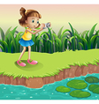 A girl taking photos at the pond vector image vector image