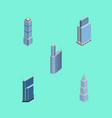 isometric construction set of residential vector image