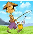 Cartoon man in a Vietnamese hat walks vector image
