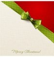 Greeting card with green polka dot bow vector image