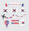 south korea flag and map icons set vector image