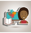 woman pc book puzzle vector image