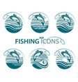 fishing emblems set vector image