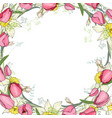 greeting card with round frame made of tulips and vector image