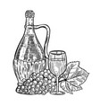 vintage wine bottle with grapes and wine glass vector image