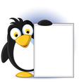 cute little penguin cartoon holding blank sign vector image