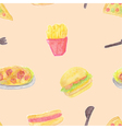 Seamless of fast food vector image
