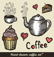 Hand drawn coffee and cakes vector image vector image