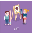 Children drawing Boy and girl studing in an art vector image
