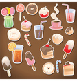 Set of dessert and drinks vector image vector image