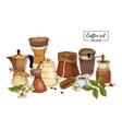 bundle of tools for coffee brewing - moka pot vector image