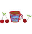 mug and cherries vector image