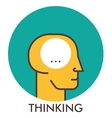 Thinking Line icon with flat design elements vector image