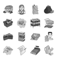 Supermarket set icons in monochrome style Big vector image