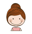 colorful caricature half body girl with collected vector image