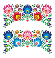 Polish floral folk embroidery patterns for card vector image