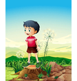A little boy standing above the stump vector image vector image