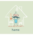 person in the house vector image