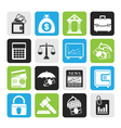 Silhouette finance and bank icons vector image vector image