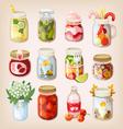 Mason jars with things vector image