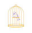 bird in a cage linear style vector image