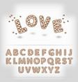 Comic cartoon chocolate with candy heart alphabet vector image