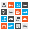 Flat car and transportation insurance and risk vector image