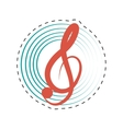 treble clef musical paper icon dotted line vector image