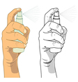 Hand Holding A Spray Bottle vector image vector image