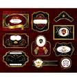 set black gold framed labels vector image