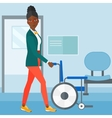 Woman pushing wheelchair vector image