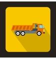 Orange dump truck icon flat style vector image