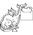 Cartoon dragon holding a sign vector image