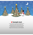 christmas forest with a snowman on the background vector image