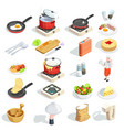cooking isometric icons collection vector image