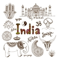 Doodle hand drawn collection of India icons vector image