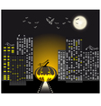 Halloween urban scene vector image