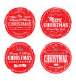 merry christmas grunge badges vector image