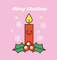 merry christmas kawaii red candle happy decoration vector image