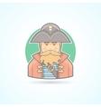 Pirate buccaneer sea dog icon vector image