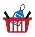 red basket buy online blue price tag vector image