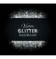 Shiny background with silver glitter frame and vector image