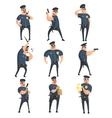 American Policeman Funny Characters Set vector image