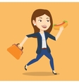 Business woman eating hot dog vector image