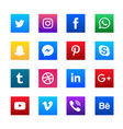 Social media square icons set vector image