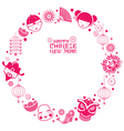 Chinese New Year Text with Icons Wreath vector image